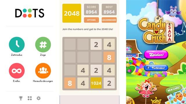 DOTS / 2048 / CANDY CRUSH