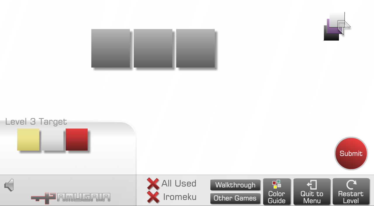 Die 3 grauen Felder müssen wie die Vorgabe gelb-weiss-rot eingefärbt werden. Zur Verfügung stehen uns dafür die 3 Filter schwarz-violett-weiss