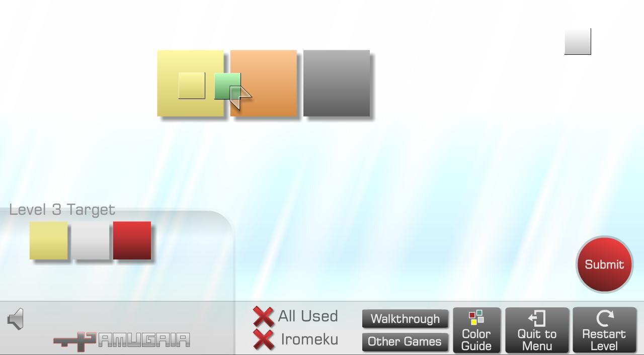 Schritt 2: Da mir schwarz nicht ausreicht, setze ich noch den violetten Filter an. Und zwar so, dass das erste feld dadurch gelb wird und das zweite vorübergehend Orange. Der Filter verfärbt sich dabei grün.
