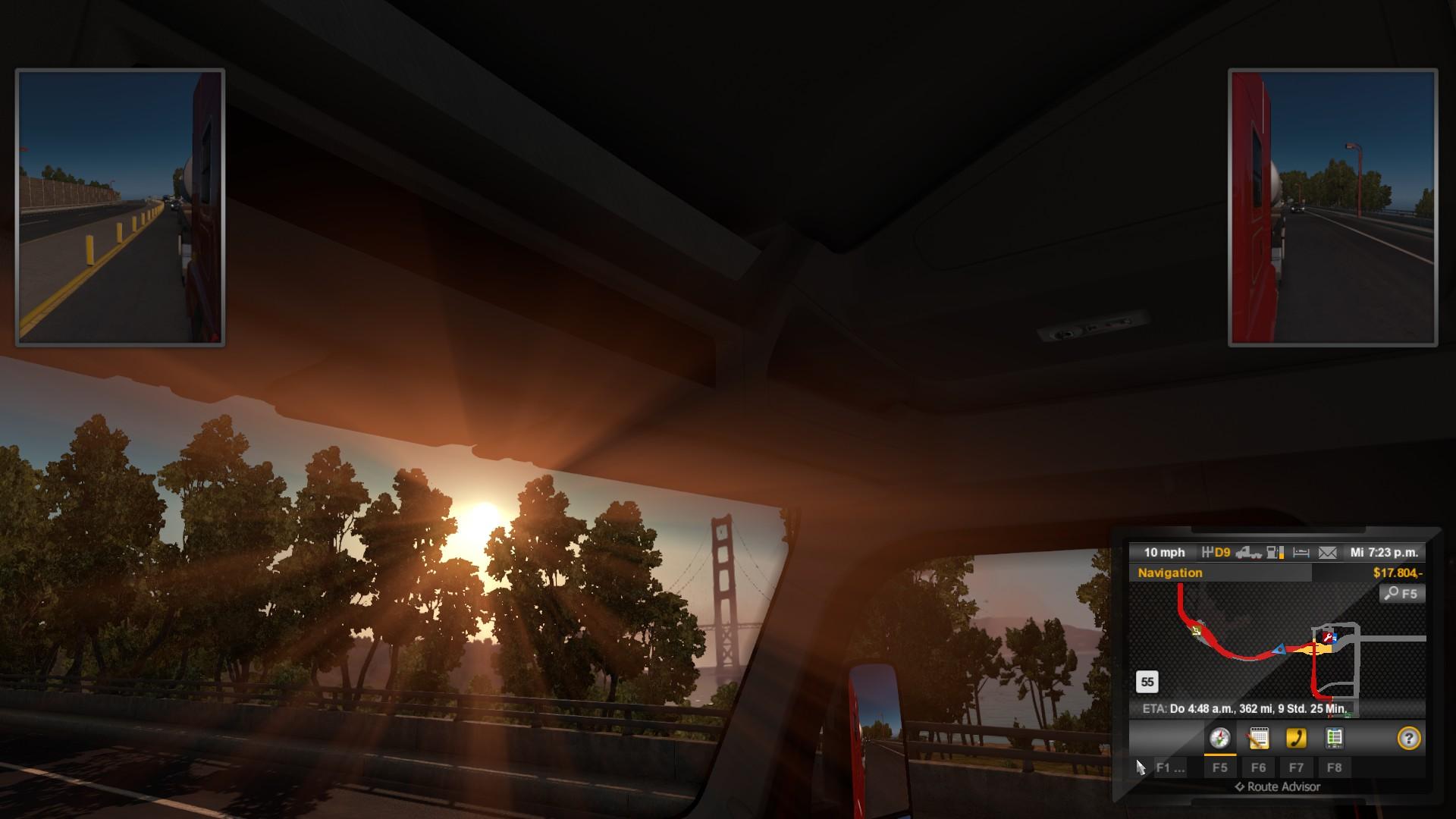 Richtung Golden Gate und die Sonne geht unter.