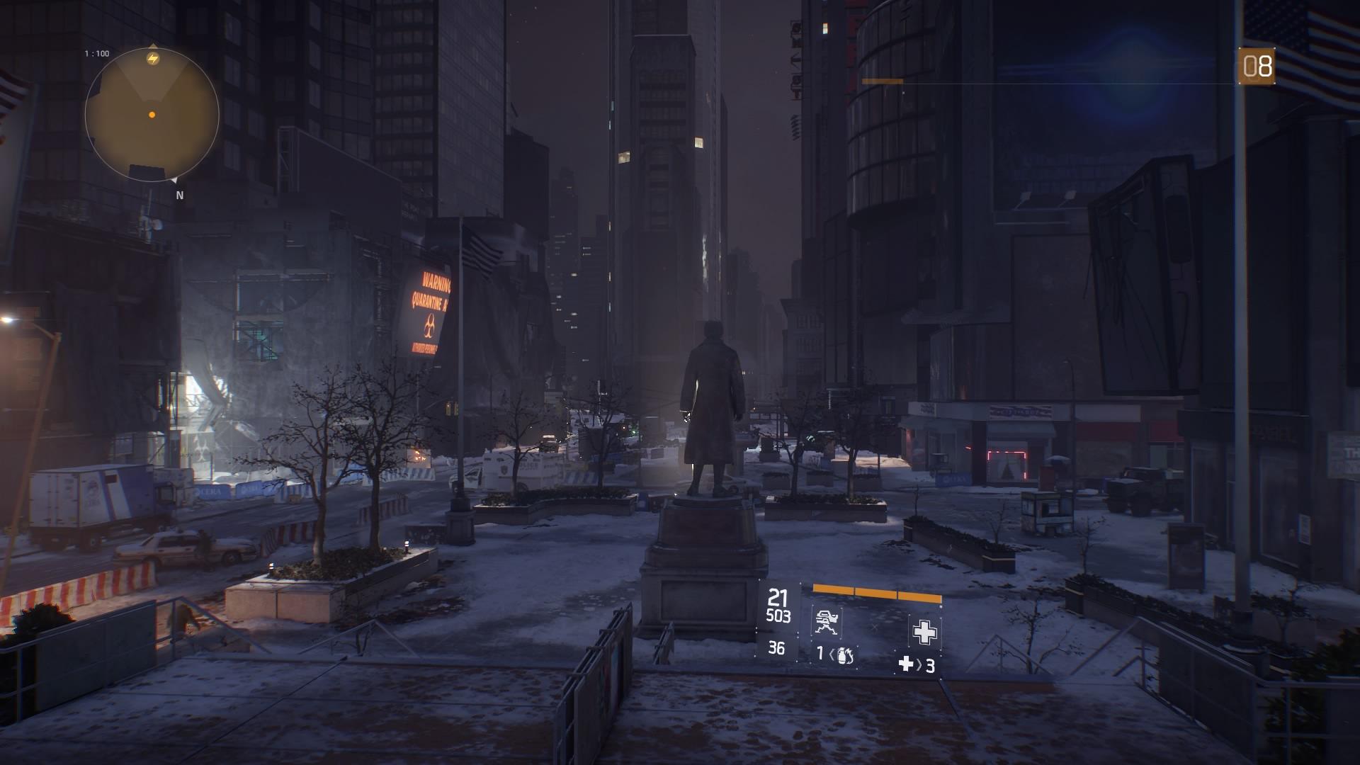 Direkt am Square ist es dunkel.